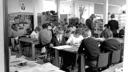 A busy art class at Thurleston School, Ipswich, in September 1977. Picture: JERRY TURNER/ARCHANT