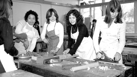 Pupils during a carpentry lesson at Thurleston School, Ipswich, in September 1977. Picture: JERRY TU