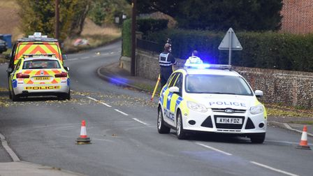 Traffic accident on Windmill Hill in Long Melford. Picture: ARCHANT