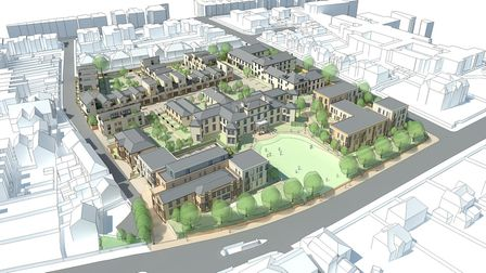 A CGI image of the planned housing estate at the site of Essex County Hospital in Colchester. Pictur