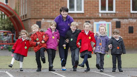 Pupils from Maidstone Infant Schoolin Felixstowe with head of school Lucy Thompson with the hi-vis b
