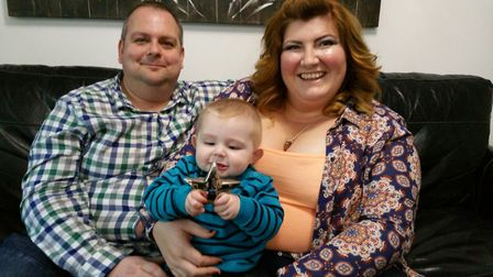 Alec with his mum and dad, Glen and Nicola Carpenter. Picture: CANCER RESEARCH UK