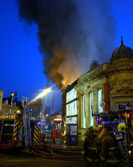 Firefighters and emergency services at the scene of the huge blaze at the Market Hill end of Friars