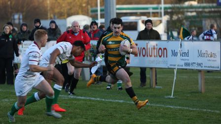Bury St Edmunds' Dwayne Corcoran goes in the corner for a try against London Wild Geese last Saturda