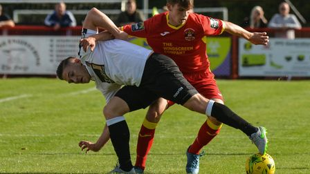 Needham's Jake Dye, right. He and his team-mates travel to Staines at the weekend. Photo: BEN POOLEY