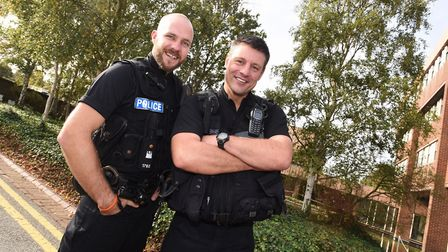 Suffolk police officers Jon Harvey (left) and Peter French have returned from work in the British Vi