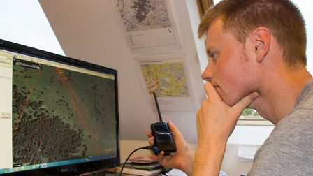 Ground Disturbance project leader Robert Hawkes maps stone curlew movements using GPS data. Picture:
