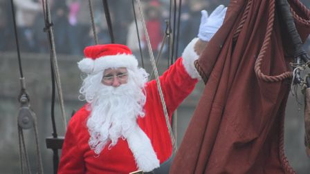 Santa Claus magically arrived through the fog at Snape Maltings. Picture: ANDREW MUTIMER