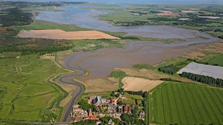 The Alde and Ore estuary looking from Snape Maltings in the foreground to Aldeburgh in the distance.