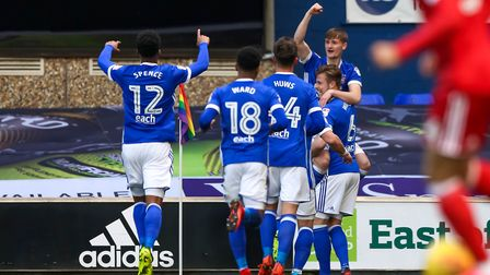 Callum Connolly celebrates giving Town an early lead in the Ipswich Town v Nottingham Forest match.