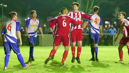 Lewis Smy celebrates scoring his first goal for the Seasiders, five minutes into his debut, in their