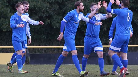 Kirkley's Liam Harvey-Cooper celebrates his goal in their win at Stowmarket. Picture: RICHARD MARSH