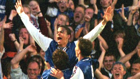 Kieron Dyer celebrates scoring his injury-time goal that made it 3-2 to Ipswich and levelled the tie