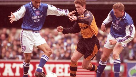 Kieron Dyer on the ball against Wolves for Ipswich in 1997