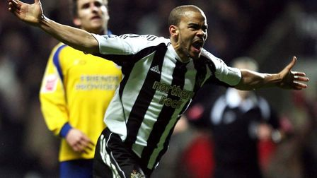 Newcastle United's Kieron Dyer celebrates his goal against Southampton during the FA Cup fifth round