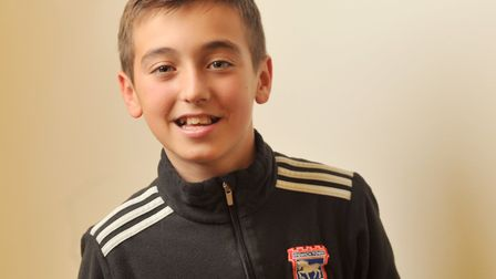 """Alex Graham, 11, from Dedham, helped present the X Factor final on Saturday where he played """"mini De"""