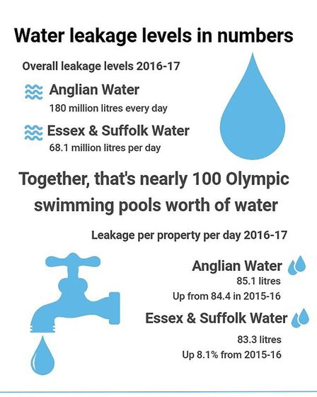 The amount of water leaked from Anglian Water and Essex & Suffolk Water in 2016/17. Graphic: EMILY T