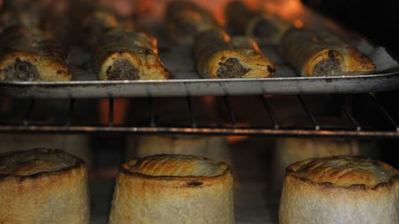 Pies in the oven at the Woodbridge Deli. Picture: SARAH LUCY BROWN