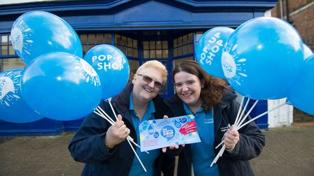Marcia Davies and Sarah Dobson from Anglian Water hand out leaflets and balloons to shoppers in Newm