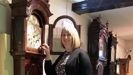 Councillor Jo Rayner with the newly restored Simon De Charmes long case clock from the Gershom-Parki