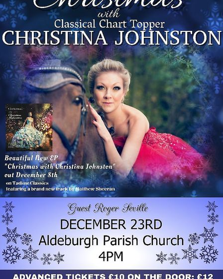She is also performing a Christmas concert in Aldeburgh. Picture: CHRISTINA JOHNSTON