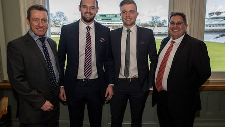 Scrutton Bland partners Simon Pinion, left, and Tim O'Connor, right, with Essex cricketers Nick Brow