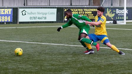 Haringey's David Olufemi, left, and Sudbury's Jake Clowsley vie for possession on Saturday at King's