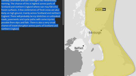 The Met Office has issued a yellow warning for ice. Picture: MET OFFICE
