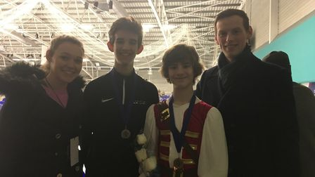 Elliot (centre left) and Edward (centre right) Appleby, with their ice professionals John Wicker and