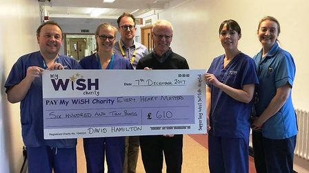 Pictured at the West Suffolk Hospital with his cheque for the Every Heart Matters appeal is David Ha