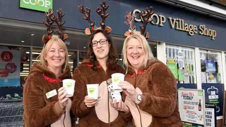 Co-op staff dressed as reindeers to bring festive cheer to Long Melford. Picture: PIER MARKETING