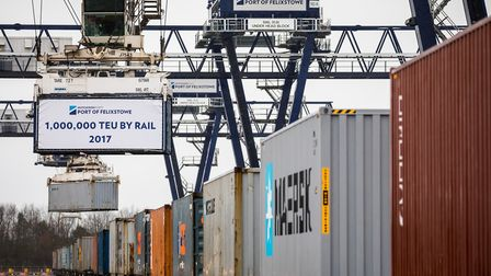 The 1,000,000th TEU by rail container is loaded at the Port of Felixstowe. Picture: Stephen Walle