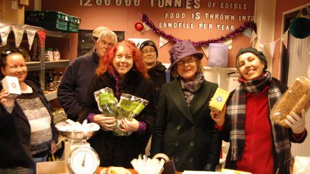 Councillor Julia Wakelam with volunteers and customers at the Best Before Project Shop in Bury St Ed