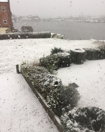 Snow blankets a driveway in Oulton Broad. Picture: LIAM GALWAY