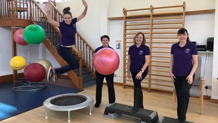 Pictured, left to right, are four members of the cardiac rehabilitation team, Zoe Noble, senior card