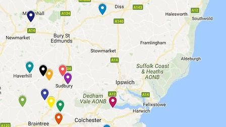 Cash machine ram raids in Suffolk and north Essex over the past two years. Picture: ARCHANT/GOOGLE