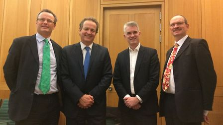 Left to right: Waveney MP Peter Aldous, policing minister Nick Hurd, South Suffolk MP James Cartlidg