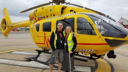Alison Allen in front of an East Anglian Air Ambulance. Photo: Allen family