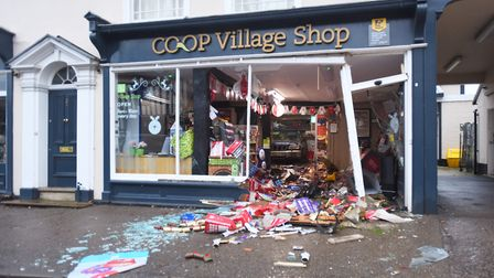 A vehicle has been reversed into a Co-op store in Lavenham. Picture: GREGG BROWN