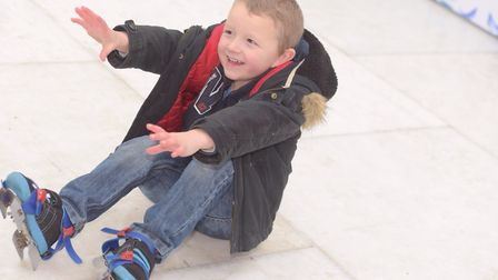 Reece Mann having reaching for a helping hand on the Felixstowe ice rink. Picture: SARAH LUCY BROW