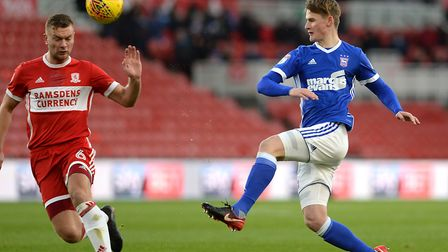 Callum Connolly pulls the ball across the penalty area at Middlesbrough Picture Pagepix