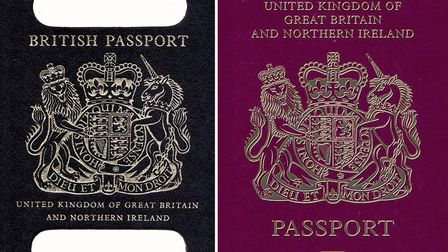 An old British passport (left) and a burgundy UK passport in the European Union style format. Britis