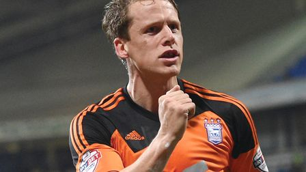 Christophe Berra celebrates after scoring Ipswich Town's second goal at Bolton in 2016