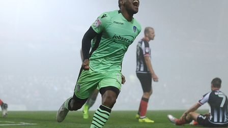 Kyel Reid, celebrating his second goal in the 2-2 draw at Grimsby (this weekend's visitors) in late