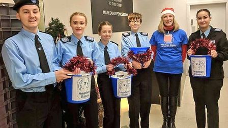 Police cadets packed bags in Colchester Marks and Spencer for brain injury charity Headway. Picture: