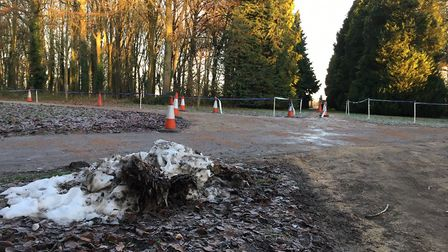 The frozen surface near the finish of the Swindon Parkrun. Picture: CARL MARSTON