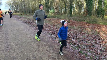 Finishers young and old approach the finish of last Saturday's Swindon Parkrun