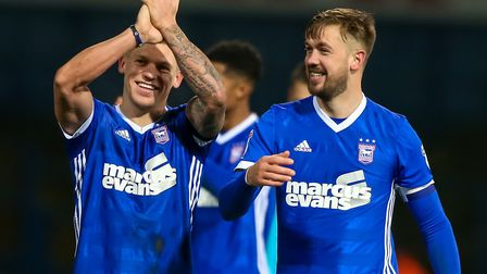 Martyn Waghorn and Luke Chambers celebrate after Town's 2-0 home win over Reading last weekend. Phot