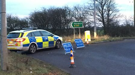The police cordon at Horsley Cross on the A120. Picture: WILL LODGE