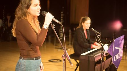 Chloe Lupton (left) and Erin Radley performing for the One sixth form Winter showcase concert. Pictu